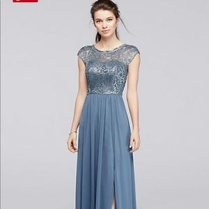 David's Bridal Bridesmaid Dress-Steel Blue
